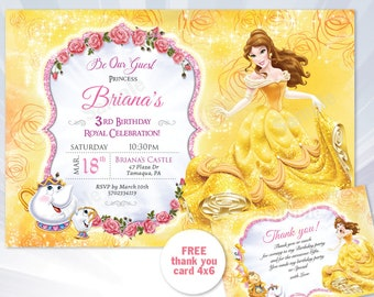 belle invitation - Beauty and the Beast, Princess Belle - Belle birthday party - beauty and the beast invitation