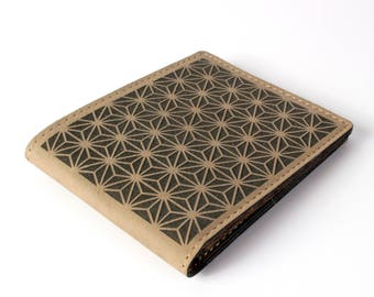 Japanese Asanoha - Laser Engraved Sacred Geometry Wallet - Vegan Leather