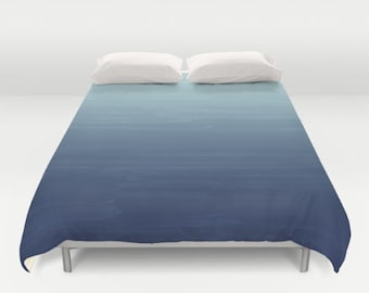 Baby Blue to Navy Gradient Ombre Painted Appearance / Duvet Cover or Comforter Bedding Art /2nd ships FREE!/ Twin XL Twin Full Queen King