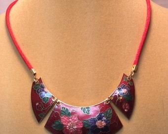Vintage Red Enamel Necklace