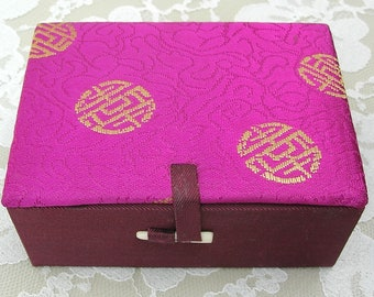 "Beautiful Small Silk Chinese Gift/Keepsake/Jewelry Box, magenta & gold, ""shou"" symbol, purchased in China, 4 1/4x3"""
