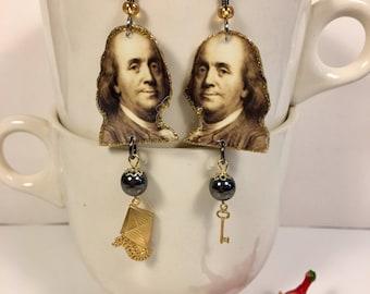 Benjamin Franklin Earrings Poor Richard  Founding Father Philadelphia