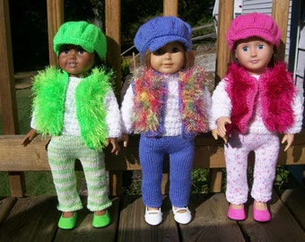 26) Knit Four Piece Outfit Newsboy Cap Fun Fur Vest Long Sleeve Sweater Long Pants 18 Inch American Girl Cabbage Patch
