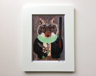 """Coyote with Roadrunner Art Print """"Coyote Hunter, Animals Fighting Back! /Coyote Art/Coyote Portrait/Coyote Print by Amy Tom"""
