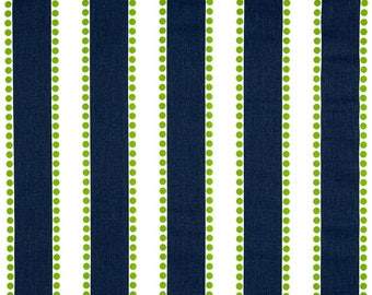 Premier Prints Fabric | Lulu stripe Fabric | Designer Fabric | Upholstery Fabric | Premier stripe navy & green fabric | Fabric by the yard
