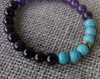 Turquoise Amethyst and Garnet Gemstone Bracelet with Gold Accent