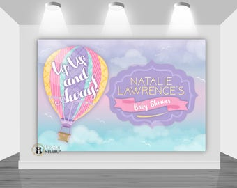 DIGITAL Printable Backdrop|| Up Up & Away Baby Shower|| Hot Air Balloon Baby Shower|| Customizable|| Any Wording|| You Print The File