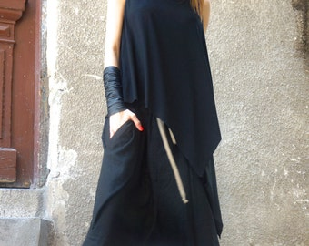 NEW Summer Black Loose  Back  Tank  Top /  Soft Casual Sport Wear /  Extravagant Top by AAKASHA A04465