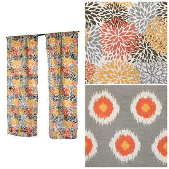 Chili Pepper Kitchen Curtains: Custom Drapes Drapery Panels Chili Pepper Orange Curtains
