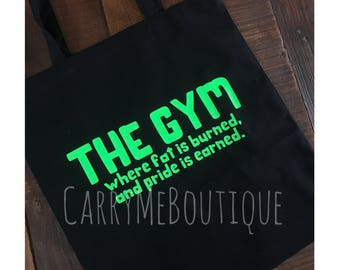 Gym Tote Bag, Custom Tote Bag, The Gym bag.