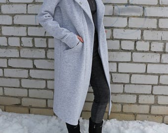 Heather gray womens cloak, Maxi Hooded Coat, hooded winter coat, cotton fleece hoodie, gray long hoodie, warm sweatshirt, cloak with hood