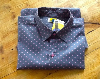 Handmade Man Long Sleeves Fitted Shirt in Pure Cotton  in Grey and Pink Pattern print