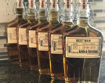 Private Listing for idoy3agi9ft Groomsman Liquor Flask with Labels - Liquor Flask - Hinged Flask 250ml - 8oz -  Bottle & Labels