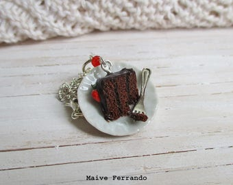 Chocolate and Strawberry Cake Slice Necklace, Cute Miniature Food, Polymer Clay Jewelry Accessories Handmade