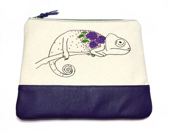 Animal Clutch, iPad Mini Case, Unique Gift, Leather Clutch, Embroidered Bag, Floral Clutch, Chameleon, Handmade Bag, Hand Embroidery