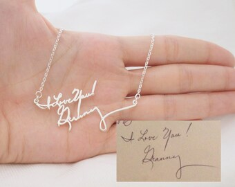 Signature Necklace/Multiple Lines Signature Necklace in Silver/Handwriting necklace/Bridesmaid Gift/Mother Gift NH01