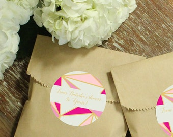24 Paper Favor Bags - Geometric Label | Wedding Favor Bags | Bridal Shower Favor Bags | Kraft Favor Bags | Baby Shower Favors | Modern label