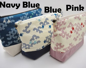 Japanese makeup bag, Cosmetic bag. Zipper pouch, Canvas pouch, Waves and birds, Blue, Red, Pink, Black, Ivory