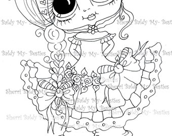INSTANT DOWNLOAD Digital Digi Stamps Big Eye Big Head Dolls Digi  My - Besties  IMG156 2 By Sherri Baldy