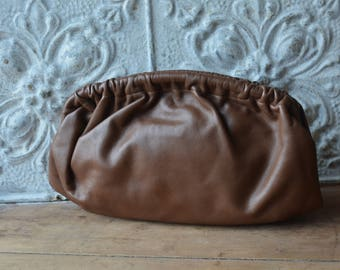 1970's Milk Chocolate Brown Leather Clutch By Meyer's