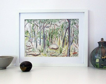 Australian Landscape, Original Oil Pastel Drawing, Gum Tree Drawing, Modern Art,  Bushland, Forest, Unframed A4 Horizontal, Gift for Women