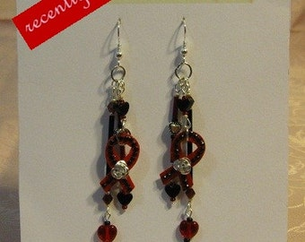 On Sale...  Recently reduced Red, Black and Silver Hearts,Crystal Awareness Ribbon Earrings