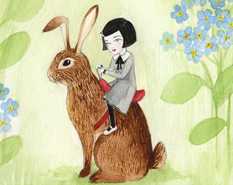 Bunny Rider, Small Girl with Rabbit, Watercolor illustration 5x5, Thumbelina
