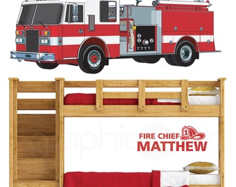 FIRE TRUCK and Fire Chief Personalized NAME wall decal - Custom nursery and kids room graphics