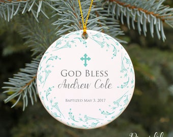 Christening Ornament Baptism Ornament God Bless Baby Boy Personalized Gift Christmas Ornament Boys Baptism Gift Custom Gift for Baptism