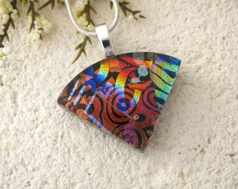 Small Wedge Necklace, Dichroic Jewelry, Red Blue Black Necklace, Dichroic  Pendant, Fused Glass Jewelry, Silver or Black Chain 080115p101