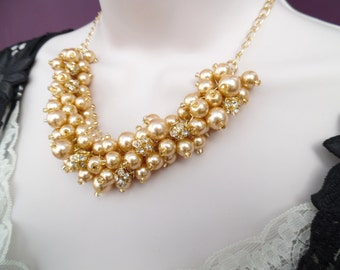 Gold Pearl Necklace with Rhinestones, Winter Wedding Jewelry, Bridesmaids Cluster Necklace, Christmas Chunky Necklace, Bridesmaids Gift