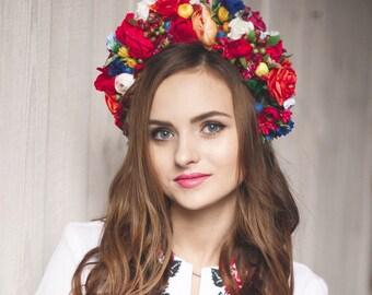 Red flower crown Bridal crown Wedding flower crown Bridal  headband Floral crown Flower hair wreath Big flower crown Ukrainian crown