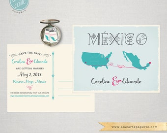 Destination Wedding Save the Date Card USA Mexico Wedding maps airplanes lines decorative Mexican blue coral pink fuchsia DEPOSIT PAYMENT