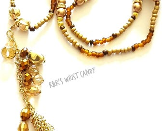 Brown Beaded Necklace, Wrap Bracelet, OOAK Necklace, Stretchy, Pendant Necklace, Charm, Custom, Handmade Beaded Jewelry