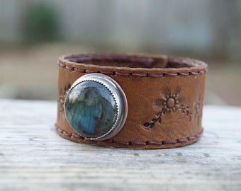 Distressed Labradorite Leather & Sterling . Copper  South Western Design. Cowgirl . Bracelet.