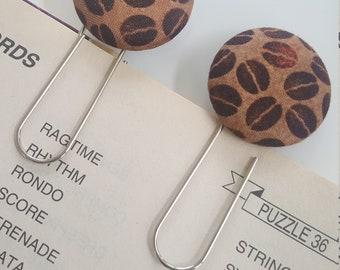 2 Jumbo Coffee Beans Fabric Covered Bookmarks with Large Paper Clip