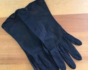 30% Off Sale Vintage Black Mesh Sheer Wrist Gloves, Size Small