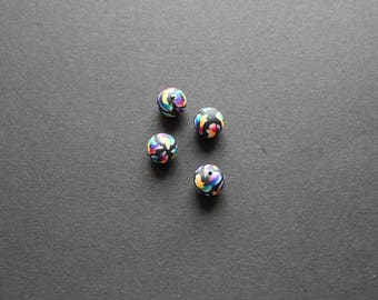 4 fimo flower multi color 12mm beads