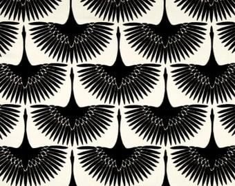 Black and White Flocked Velvet Bird Pillow Cover / Both Sides / All Sizes