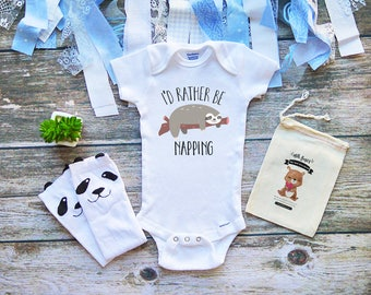 I'd Rather Be Napping Onesie - The Cuddle is Real Shirt -I'd Rather Be Sleeping - Cute Sloth Onesie - Hugs - For Baby Boys & Girls - M349