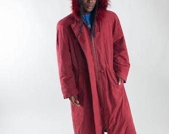 Red 90s lady parka / Vintage eskimo fur parka / Vintage ladies parka with fur collar / Ladies winter coat / Vintage winter coat / Size M