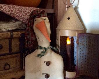 Primitive snowman shelf sitter