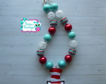 Dr. Seuss Cat in the Hat Inspired Chunky Bubblegum Bead Necklace Cat in the Hat Chunky Necklace Dr. Seuss Chunky Necklace