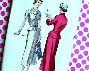Vintage  Vogue  Pattern 6699  -  Beautiful Two-Piece Dress with Shaped Peplum  - Size 16 * Bust 34 * FACTORY FOLDED