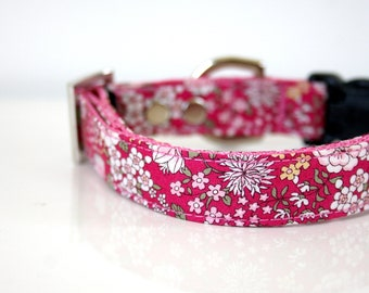 Rose Pink petit floral Dog Collar - Silver