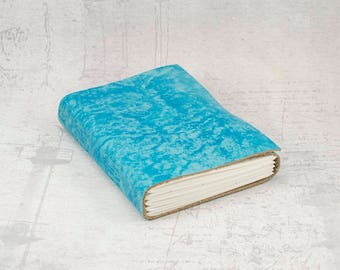 Light blue leather journal, blue sketchbook, unique notebook A6 travel journal, writing journal