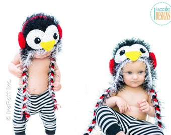 CROCHET PATTERN Furry Penguin Hat PDF Crochet Pattern with Instant Download