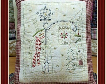 Snowflake Cafe-Primitive Stitchery E-PATTERN-Instand Download