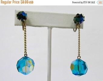 On Sale Vintage Blue Green Aurora Borealis Crystal Mod Style Dangle Earrings Item K # 2905