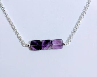 Amethyst Fade 3 Stone Square Faceted Minimalist Necklace, Silver Amythest jewelry, minimalist purple necklace, magnetic clasp